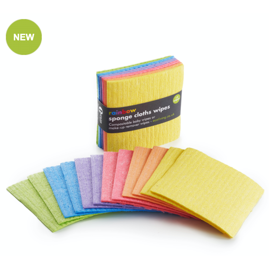 100% natural 12 Rainbow Sponge Cloths Wipes, PLASTIC FREE also BABY OR MAKE UP wipes, compostable - natoorio