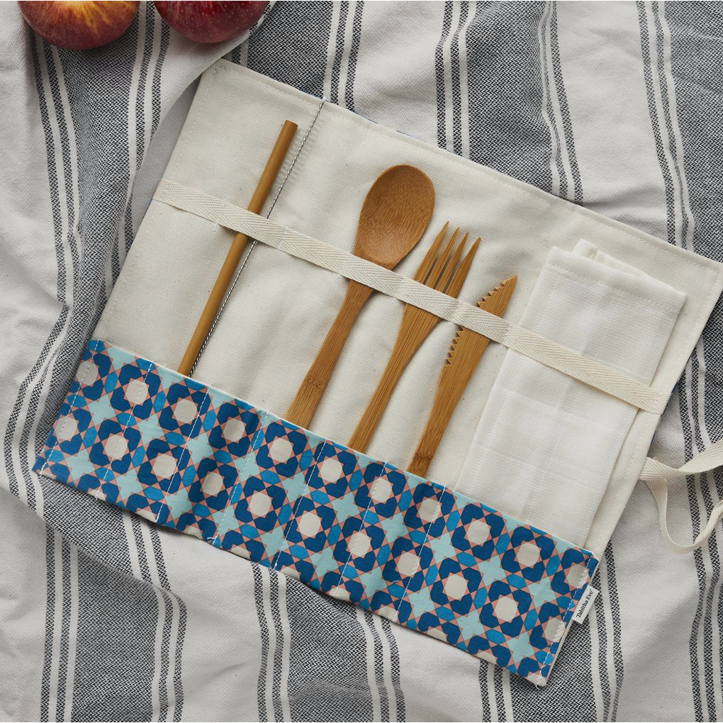 Office Cutlery Roll with napkin, bamboo cutlery,  bamboo straw & cleaner - PLASTIC FREE, Environmentally friendly - natoorio