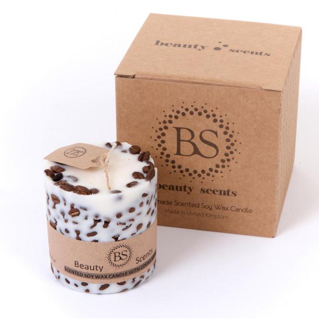 Chocolate & Mint Scented Natural Wax Candle with Coffee Beans H 5 cm D 7.5 cm