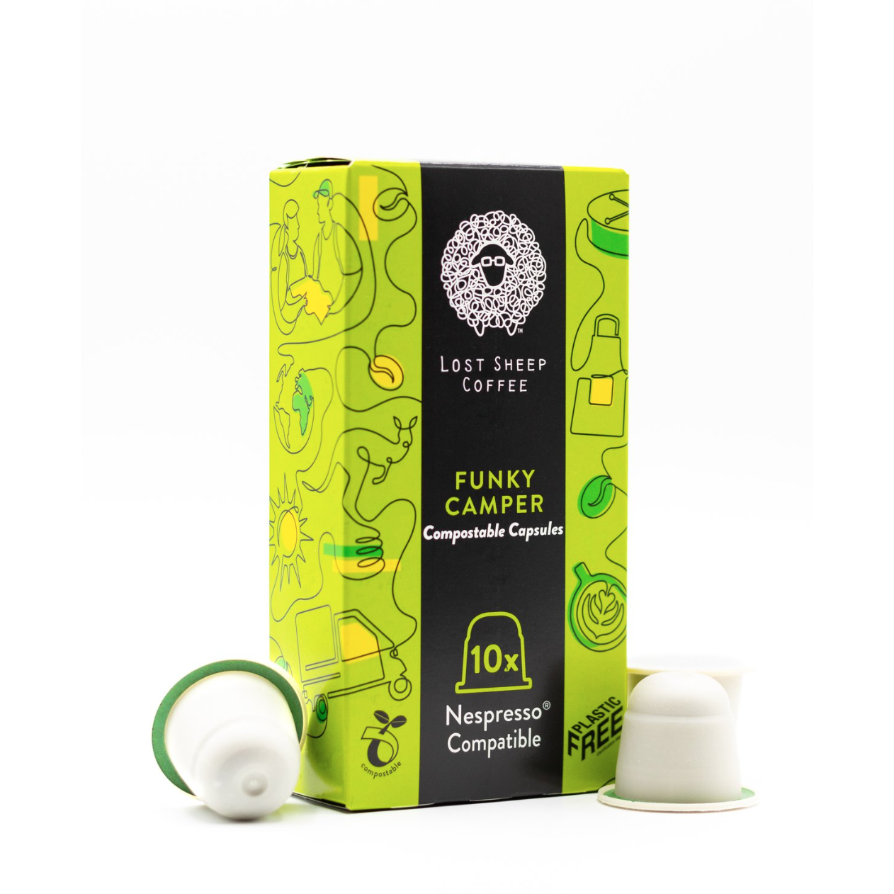10X Funky Camper - 100% Fully Compostable & Plastic Free Nespresso® Compatible Coffee Capsules