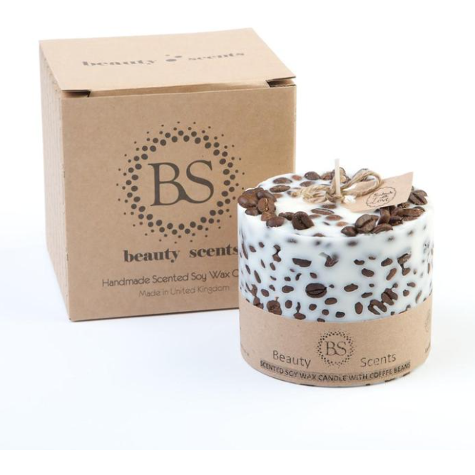 Large vanilla & coffee Scented Soy Wax Candle With Coffee Beans - natoorio
