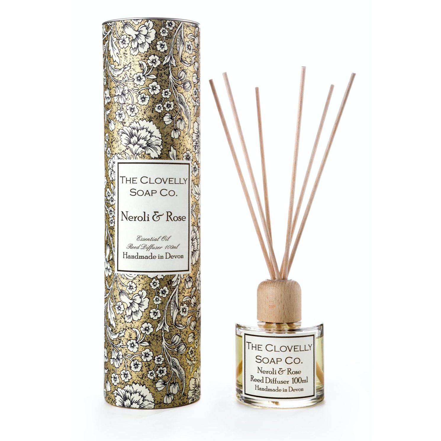 Neroli, Rose Reed Diffuser, made using eco friendly Augeo diffuser liquid and Pure Therapeutic Grade Essential Oils