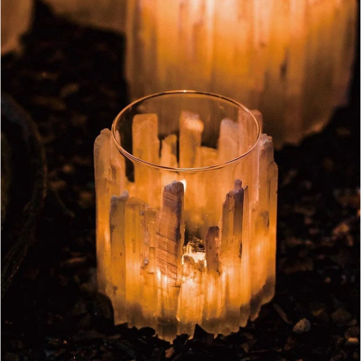 Crystal Selenite tealight Holder - natoorio
