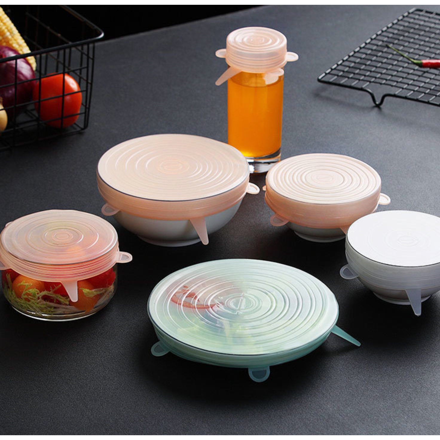 *NEW DESIGN Silicone Stretch Lids – Set of 6 ZERO WASTE - natoorio