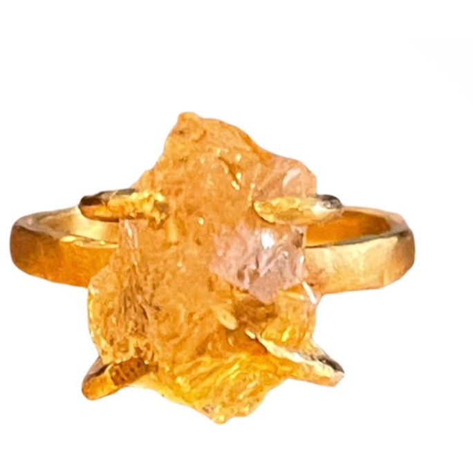 Citrine stone Ring 24 K Gold Plating over Silver, Made to order - 10 days lead time - natoorio
