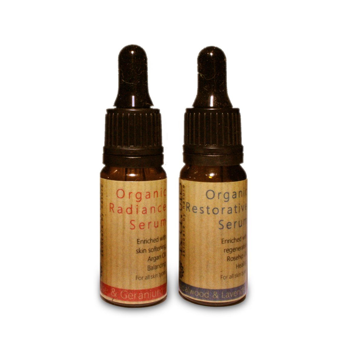 ORGANIC SERUMS 10ml Radiance Rose with Frankincense & Geranium and Restorative Sandalwood & Lavender - natoorio