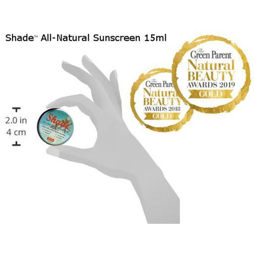 SHADE™ ALL-NATURAL SUNSCREEN - SPF25, UNSCENTED, BROAD SPECTRUM (UVA1, UVA2, UVB), TOXIN FREE, ORGANIC, ZERO WASTE, ALL SKIN TYPES (15ml) - natoorio