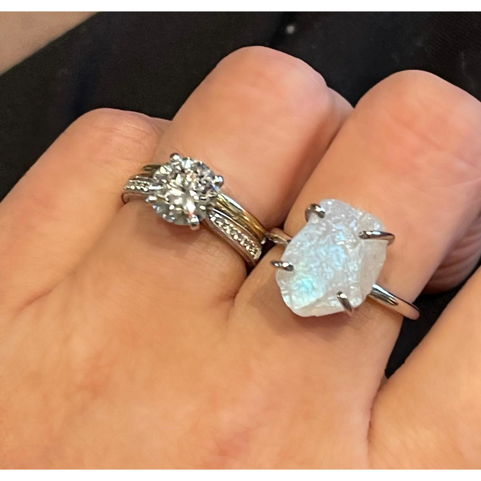 *BACK IN STOCK Natural and Raw Gemstone Moonstone Ring Silver - natoorio