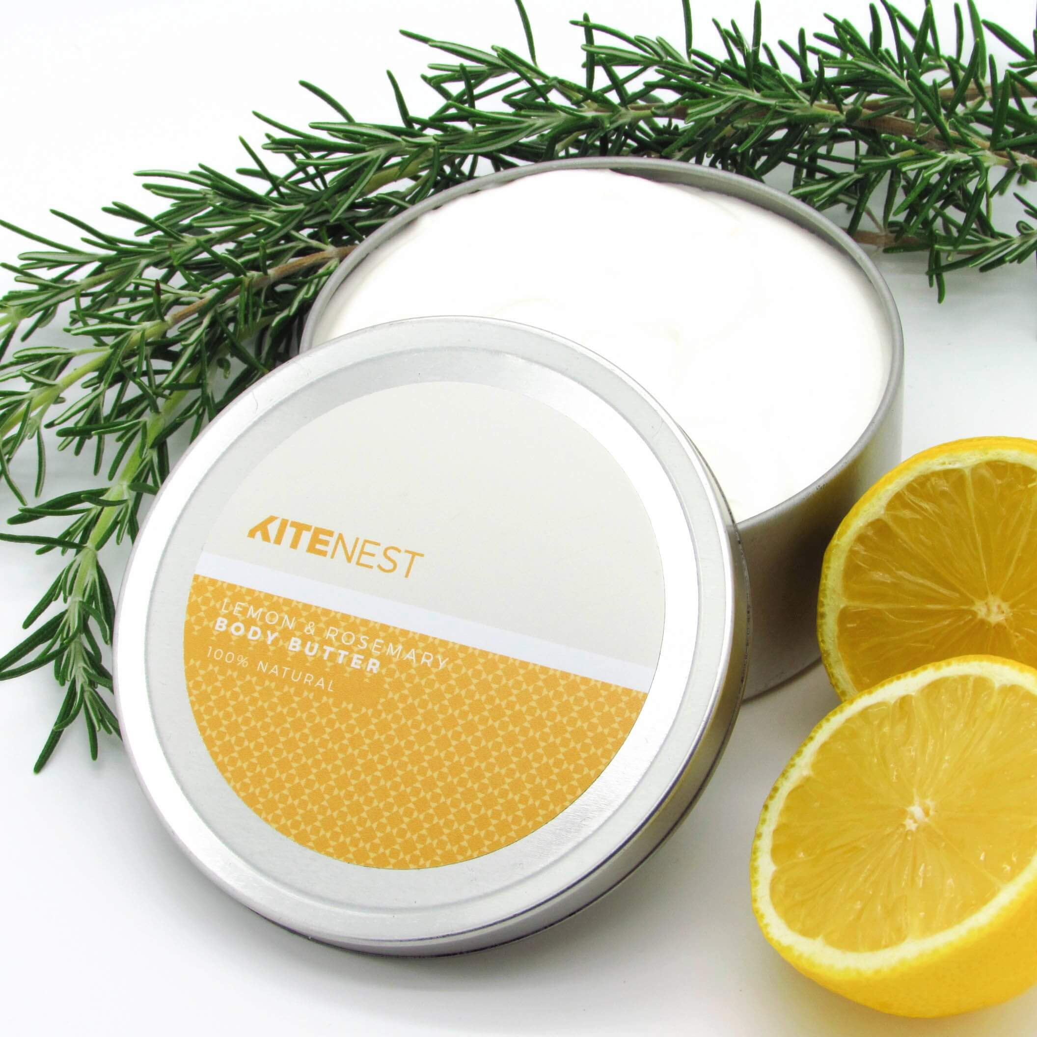 LEMON & ROSEMARY BODY BUTTER 240ML, 100% Natural - natoorio
