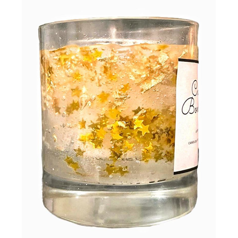 Cherry scented Gel and Soy Wax glass Candle with stars PRE ORDER delivery end of February - natoorio