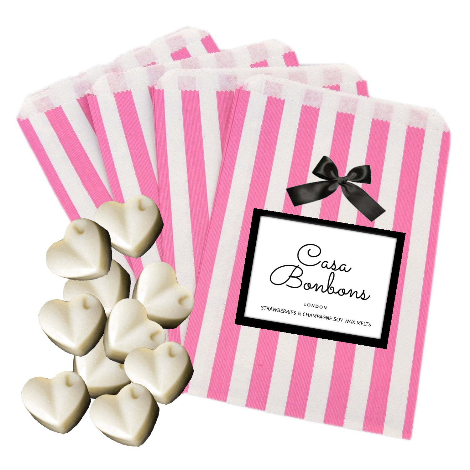 Strawberry & Champagne gentle scented Soy Wax Melts (10 hearts) - natoorio