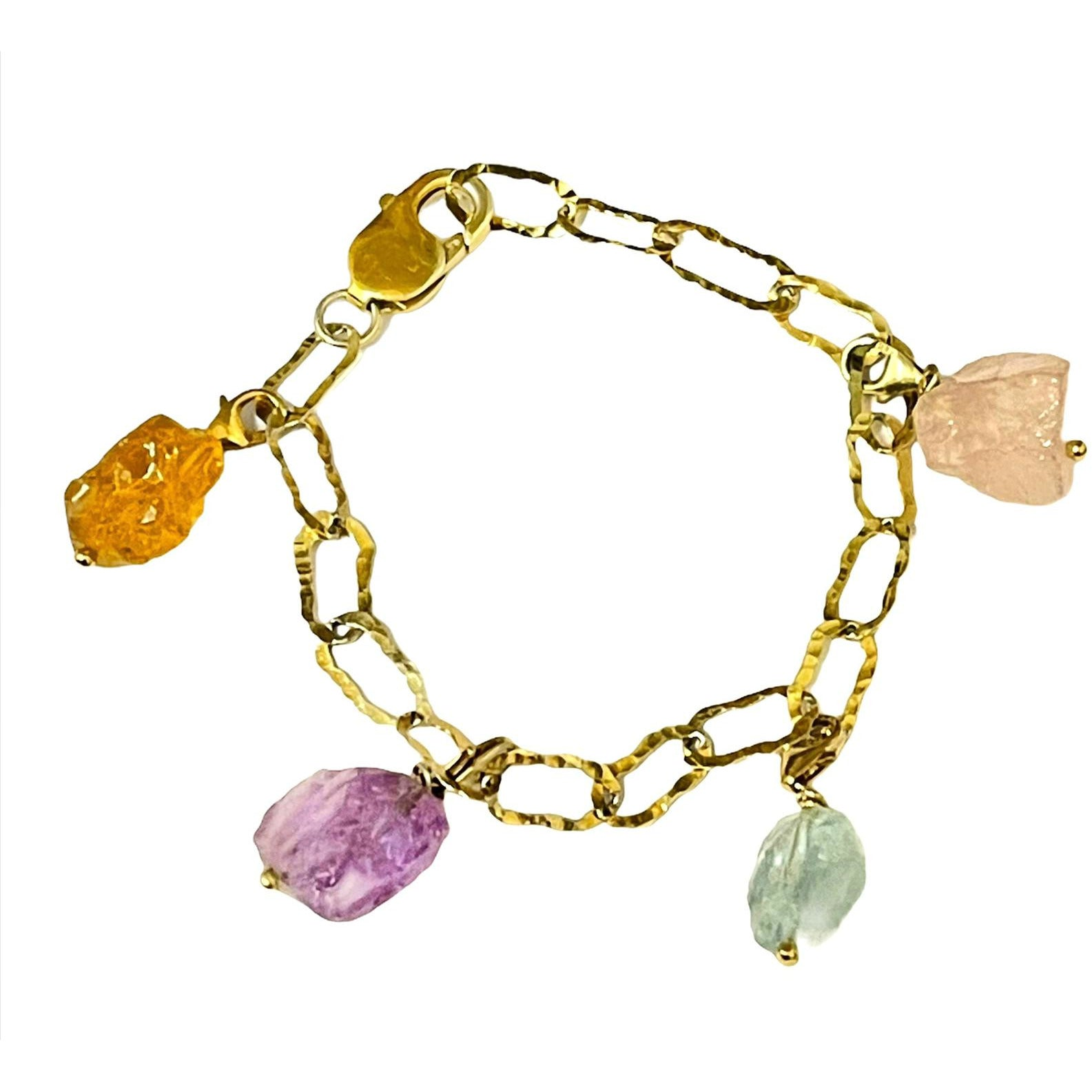 Petra Charm Link Chain Bracelet with rough raw crystal stones 24K gold plating over 925 Recycled Silver, Made to order, 10 days lead time - natoorio