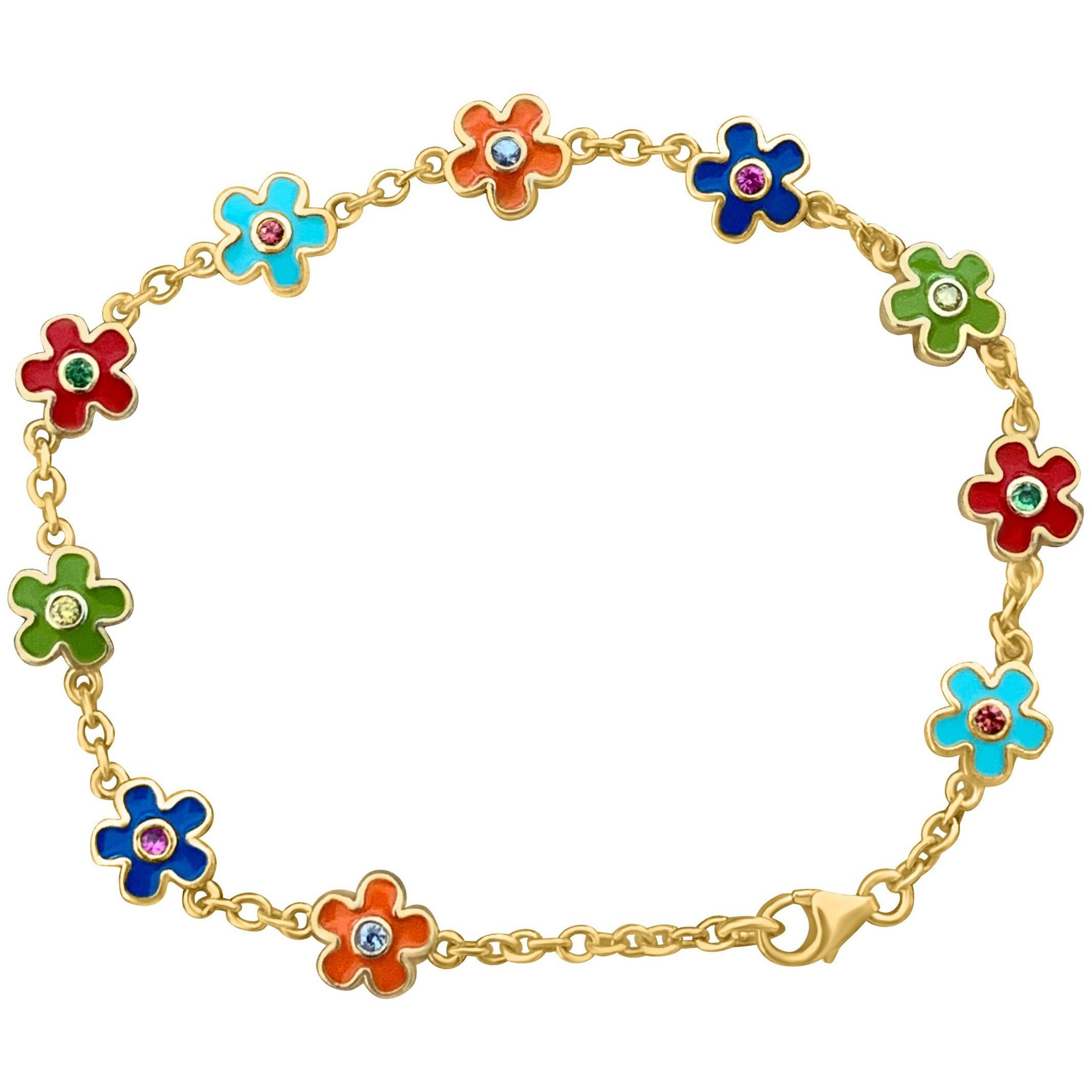 Cyclades Flower Bracelet in Gold with multicolour Sapphires - natoorio