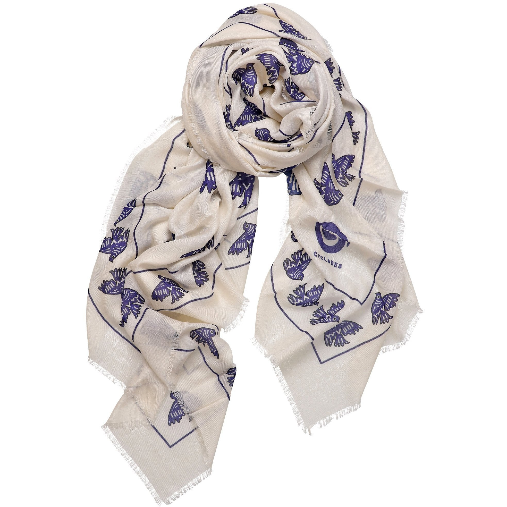 Cyclades Cashmere Blend Scarf Friendship in White - natoorio