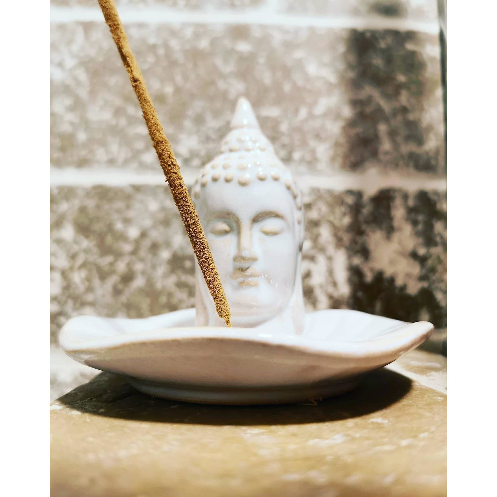Handmade Ceramic Buddha incense burner with White Sage and Lavender Incense Sticks - natoorio
