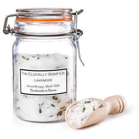 Relaxing Lavender Bath Salts with Sea Salt, Epsom Salt, Dendritic Star Salt, Essential Oils and Botanicals and its own wooden scoop - natoorio