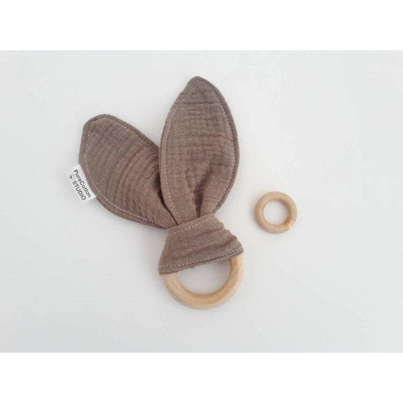 WOODEN TEETHING RING organic cotton muslin - natoorio