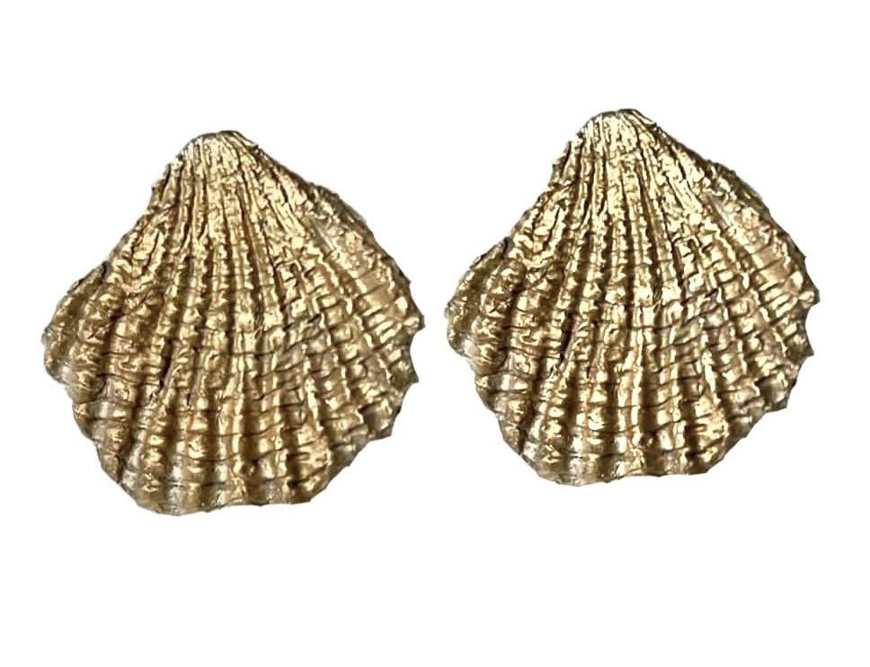 Large Scallop Earrings 24K gold plating over 925 Recycled Silver Earrings, Made to order- 10 days lead time - natoorio