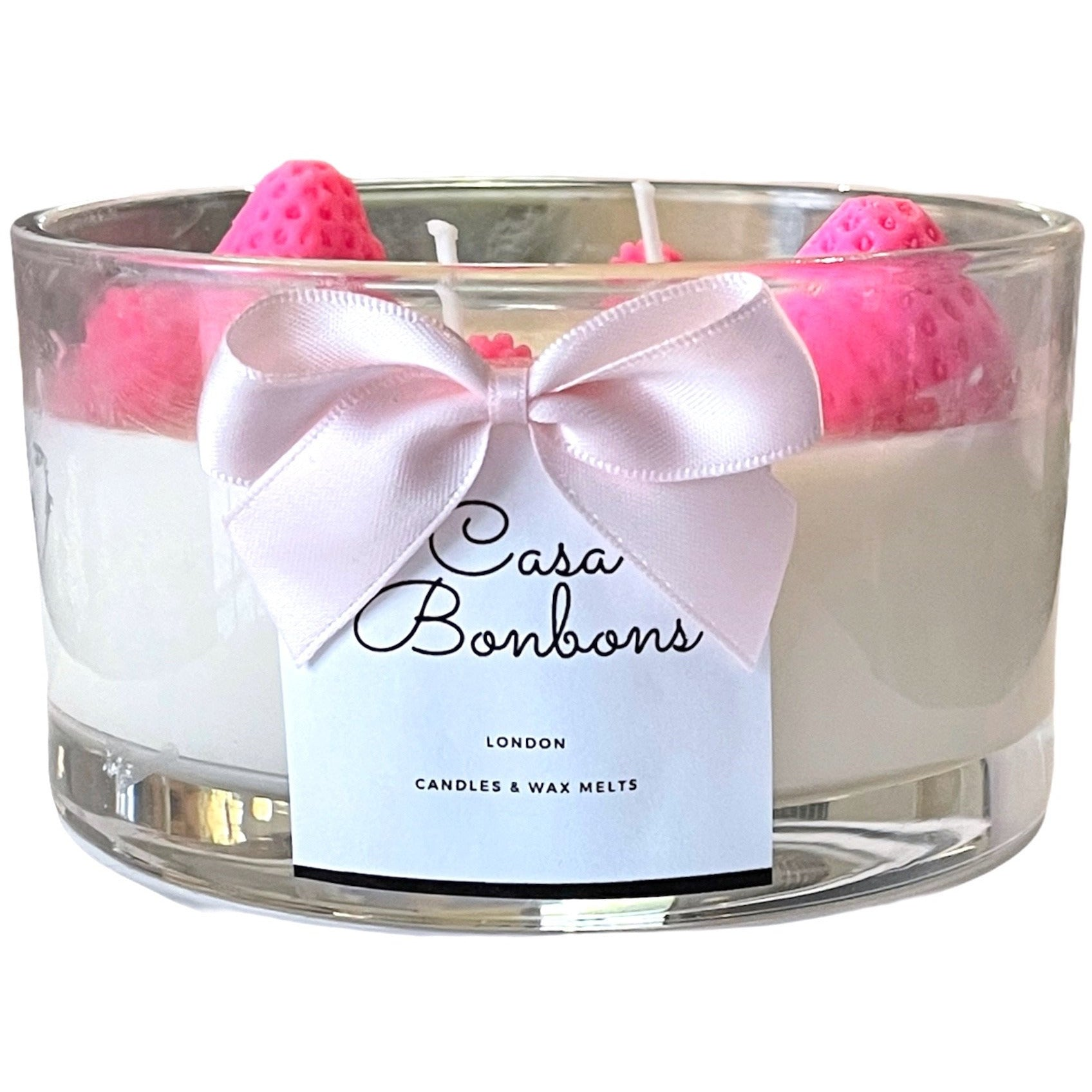 LARGE Vanilla & Strawberry gentle Scented Double Wicker Candle in 50CL Glass Jar with strawberry design on the top,  PRE ORDER delivery from middle March - natoorio