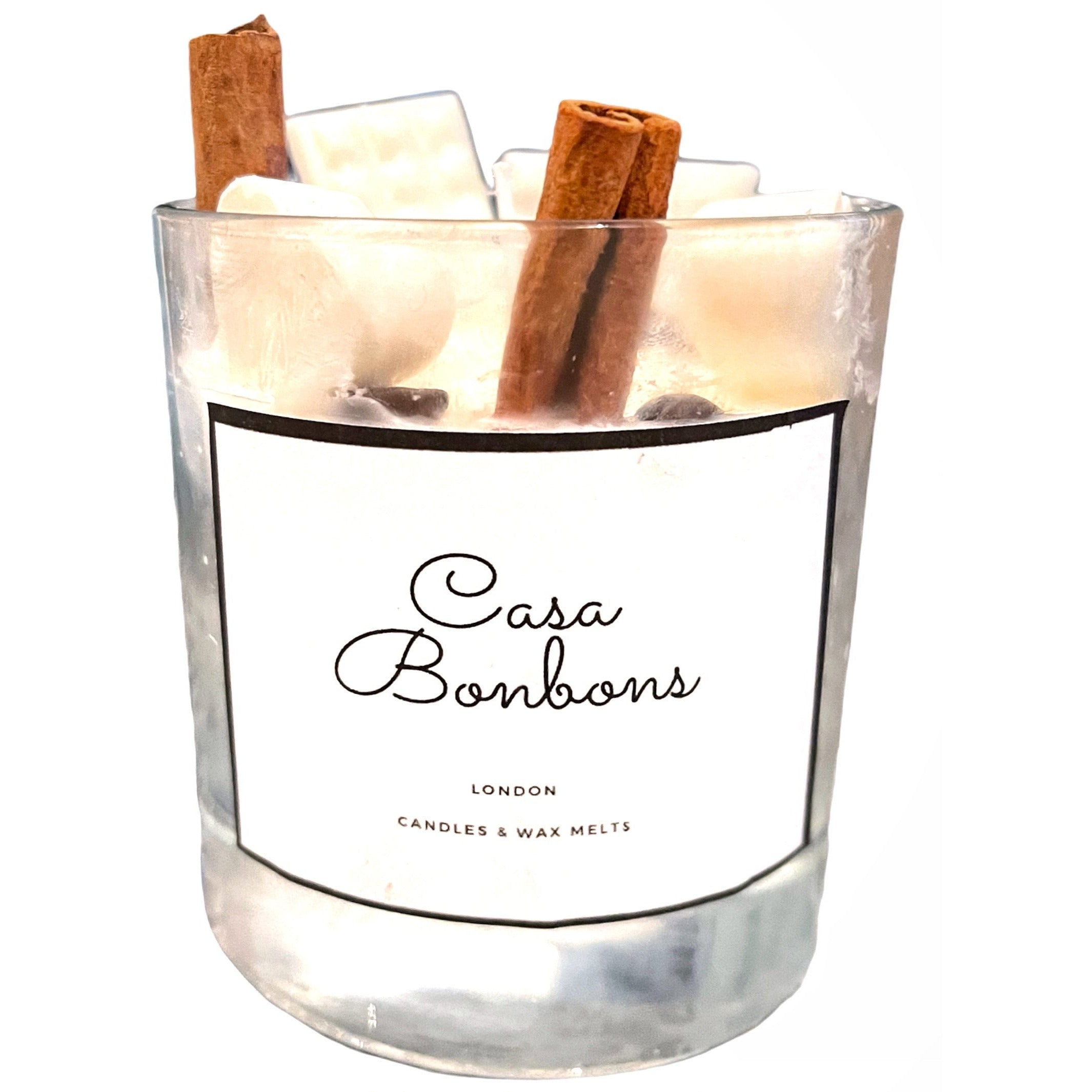 Chocolate scented Soy Wax glass Candle with natural Cinnamon long stick, top decorated with Soy wax chocolate bar and hearts design,  PRE ORDER delivery end of February - natoorio