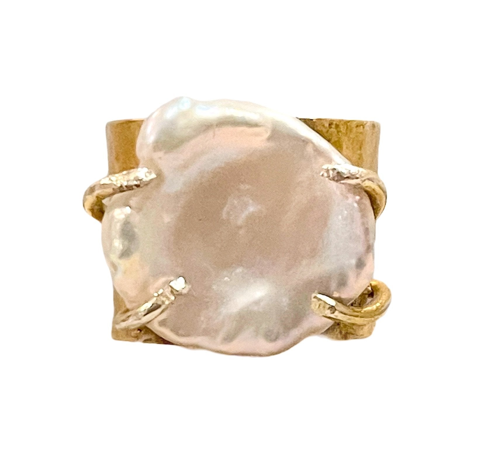 Keshi Pearl Ring 24 K Gold Plating over Silver Adjustable - natoorio