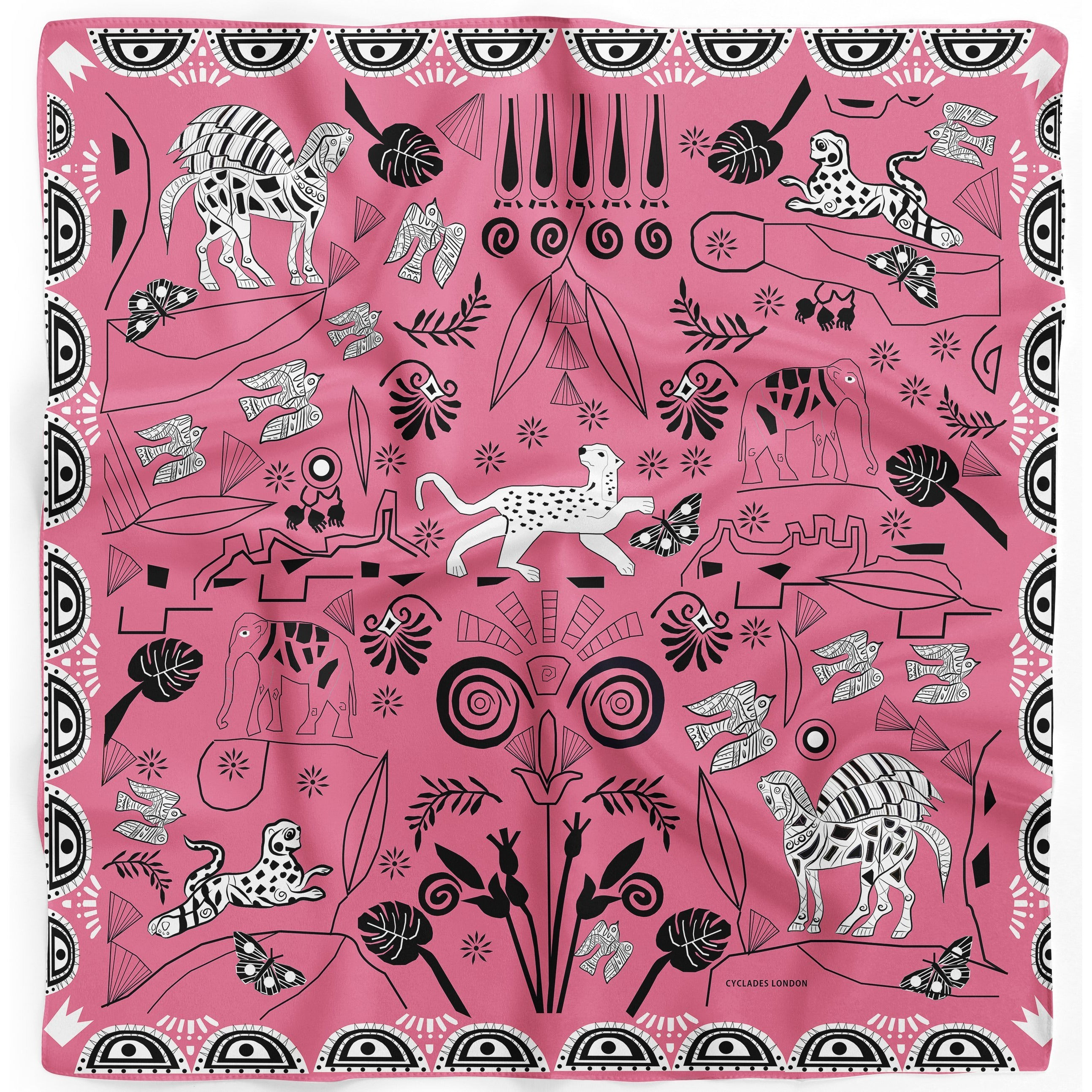 Cyclades Silk Scarves Jungle in Pink - natoorio