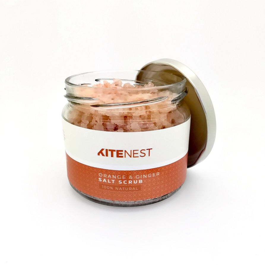 ORANGE & GINGER HIMALAYAN SALT SCRUB 300ML KiteNest 100% Natural Orange & Ginger Himalayan Salt Scrub - natoorio