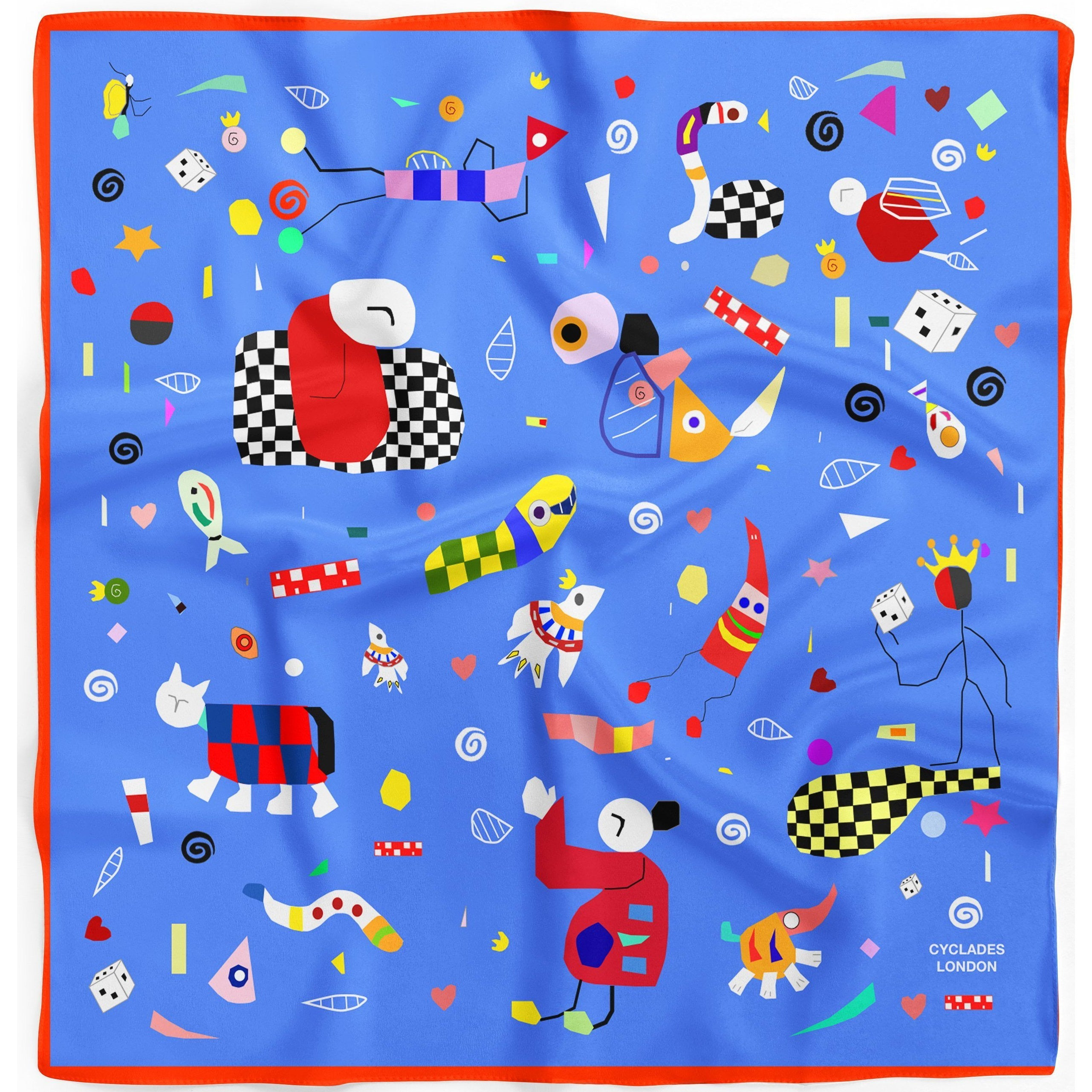 Silk Scarves Cyclades Space in Blue - natoorio