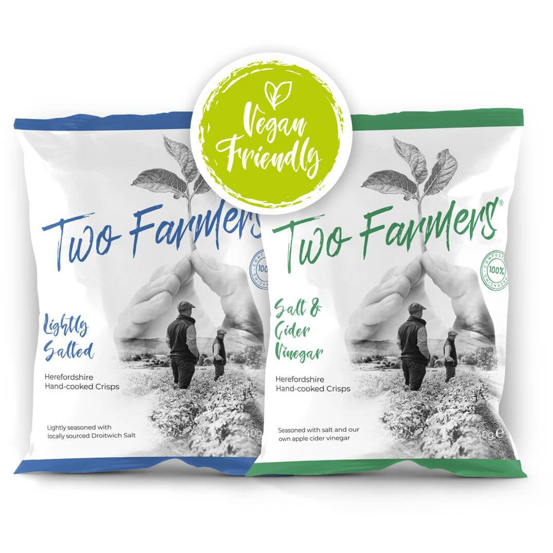 BOX with PLASTIC FREE, HOME COMPOSTABLE AND VEGAN crisps from TWO Farmers (24 x 40g mixed flavour selection) - natoorio