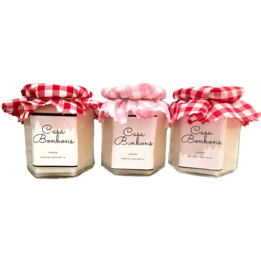 Gift set with Banana, Strawberry&Vanilla, Lime Zest scented in Coconut Wax glass Candle, PRE-ORDER delivery around 15th of December