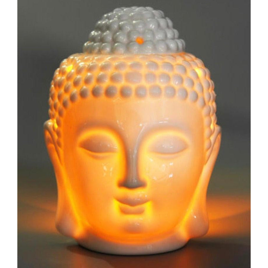 White Ceramic Buddha Oil & Wax Melts Burner - natoorio