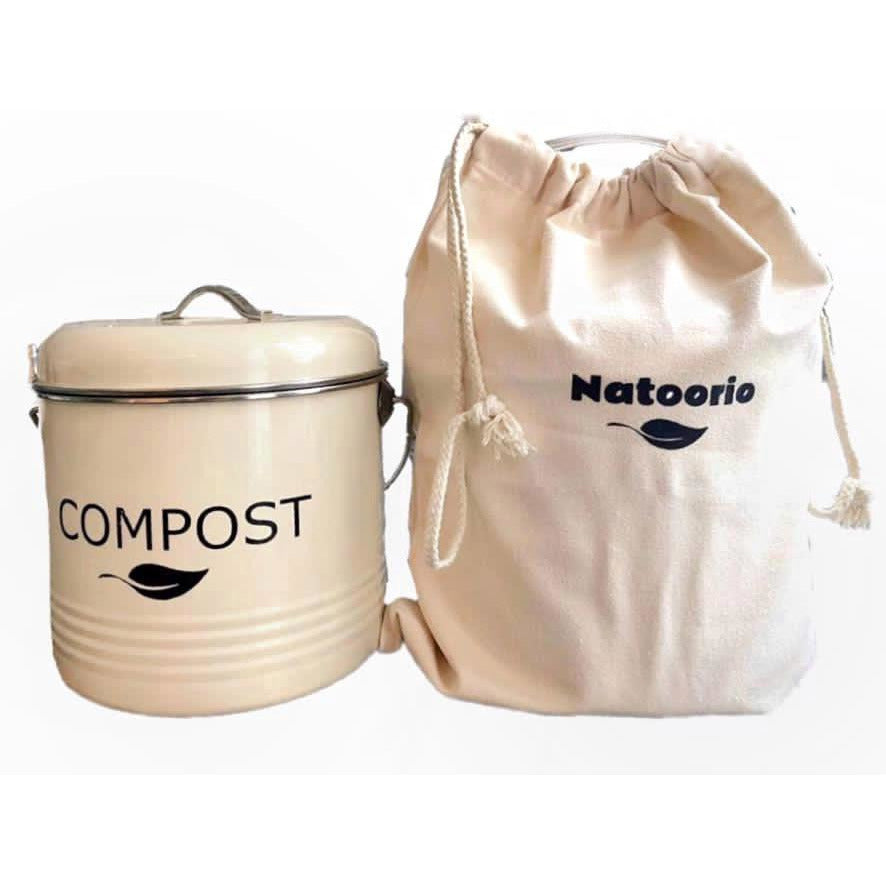 NEW Stylish COMPOST Food Bin 3.5L with carry handle - cream color with cotton bag - natoorio