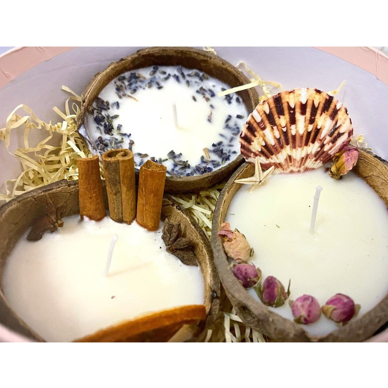3 Coconut Candles Gift Set with Coconut & Vanilla, Lavender, Cinnamon&Orange gentle scented Soy candles in coconut shell, PRE-ORDER delivery around 10th of December - natoorio