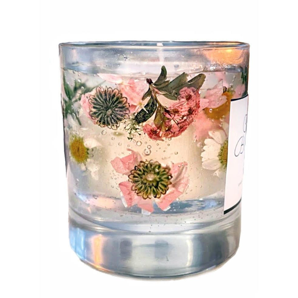 Jasmine scented botanicals Flower Gel and Soy Wax glass Candle - natoorio