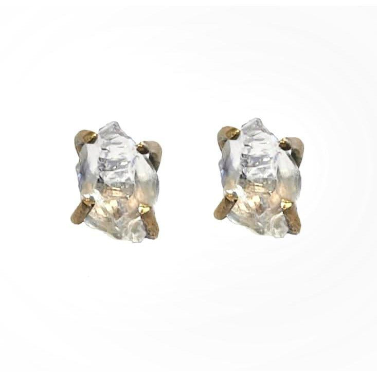 White Quartz Stud Earrings 24K Gold Plating over Silver, Made to order, 10 Days Lead Time - natoorio