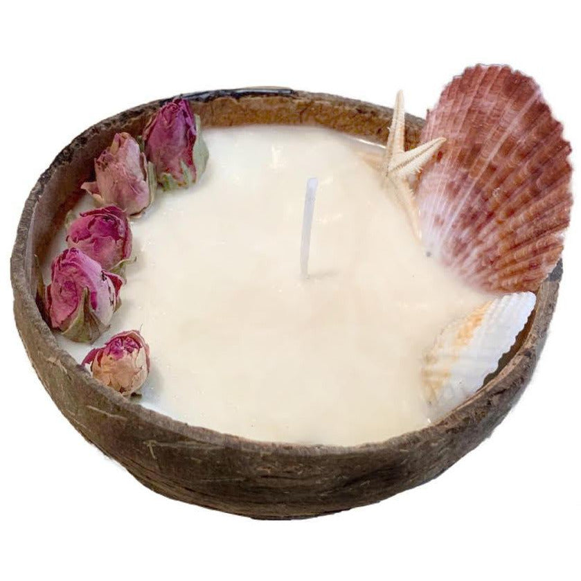 Pineapple & Mango gentle scented Soy candle in coconut shell, with bulb rose and sea shells,  PRE ORDER delivery end of February - natoorio