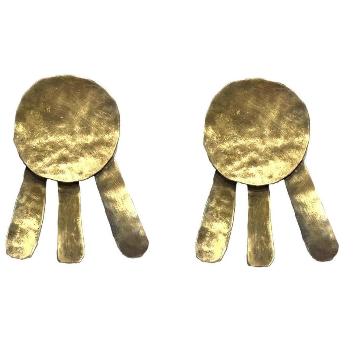 LARGE Geometric Earrings Disk 24K gold plating over 925 Recycled Silver, Made to order, 10 days lead time - natoorio