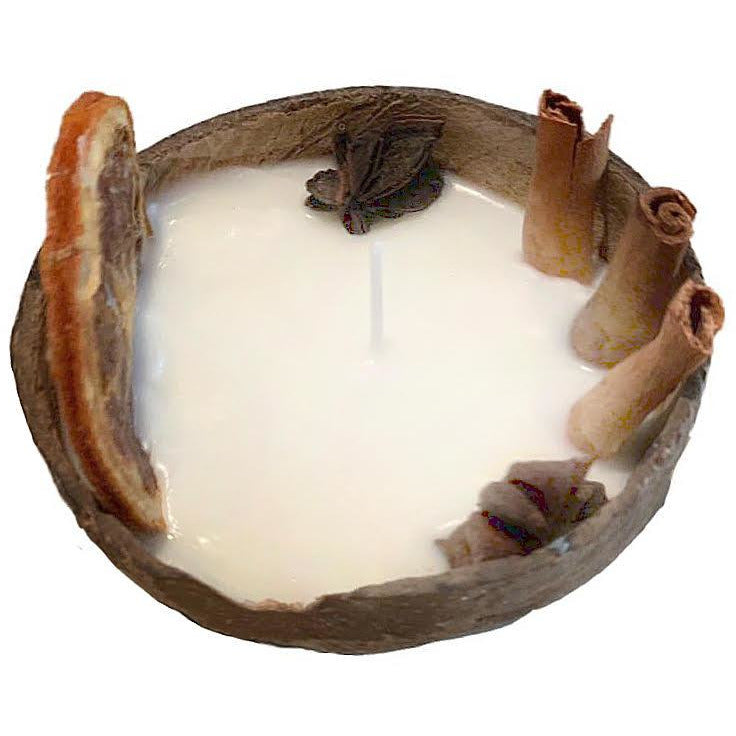 Soy wax candle in coconut shell, with orange, cinnamon, star anise. PRE-ORDER, delivery end of November - natoorio