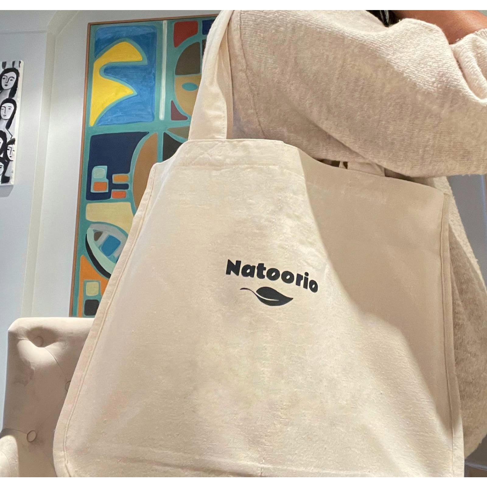 Canvas Grocery Shopping Tote Bags in Cotton with Handles - natural color - natoorio