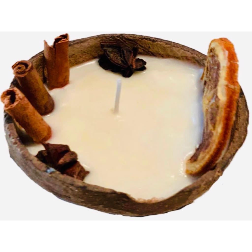 LARGE Orange & Cinnamon gentle scented soy candle in coconut shell, PRE-ORDER delivery around 10th of December - natoorio