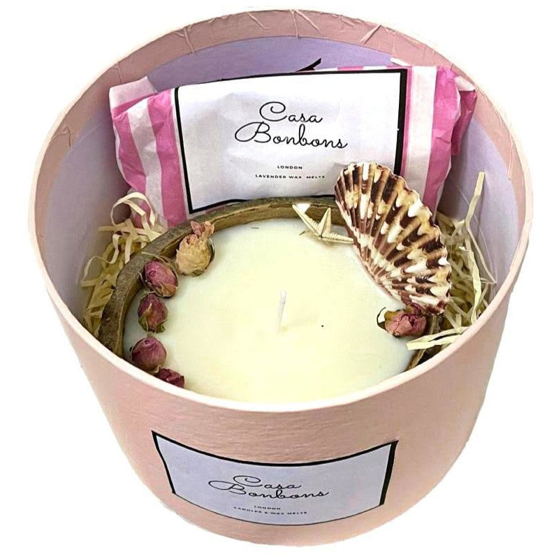 Gift Set Coconut & Vanilla gentle scented Soy candle in coconut shell and Lavender wax melts (10 hearts),  PRE ORDER delivery end of February - natoorio