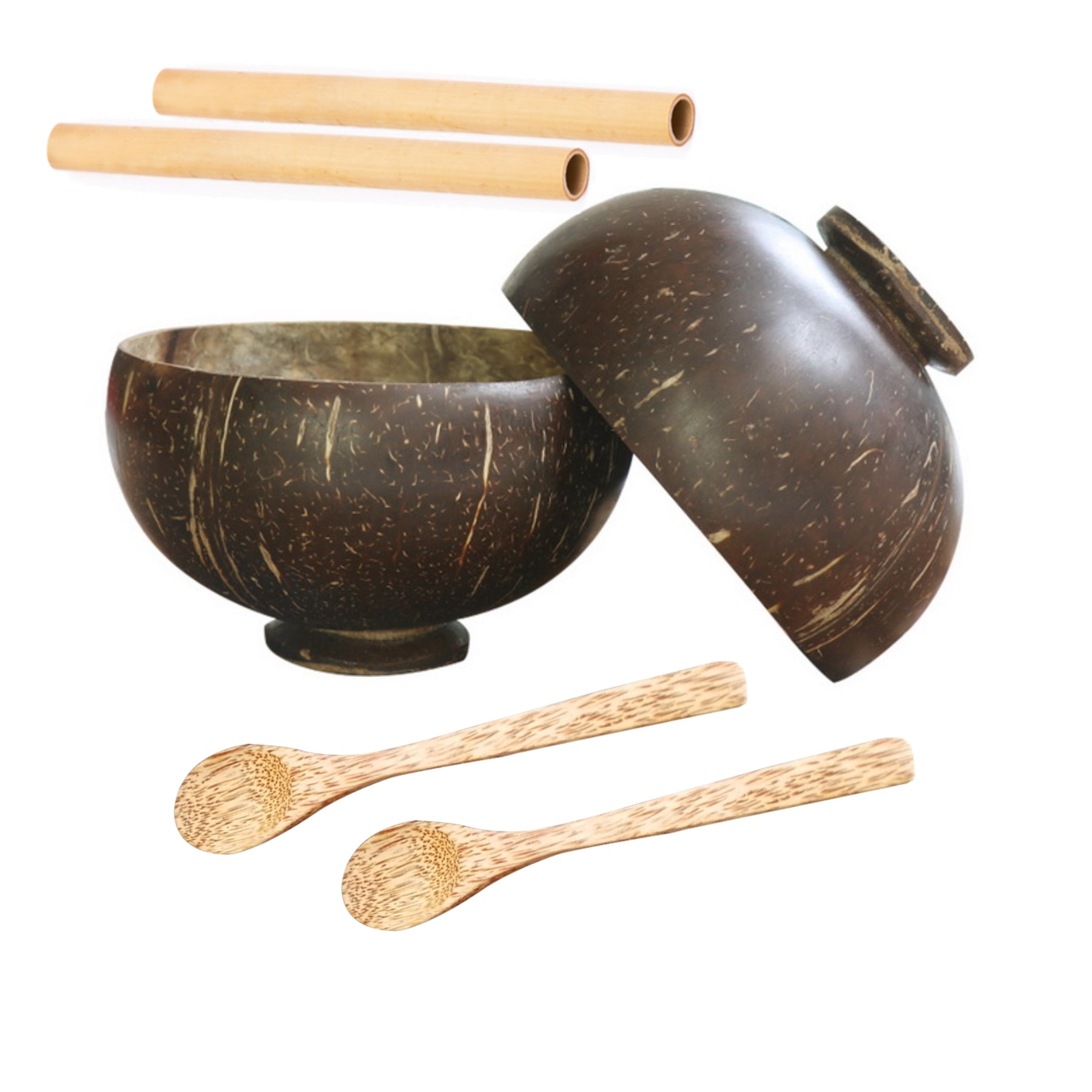 COCONUT BOWLS SET WITH BASE & SPOONS & STRAWS - natoorio