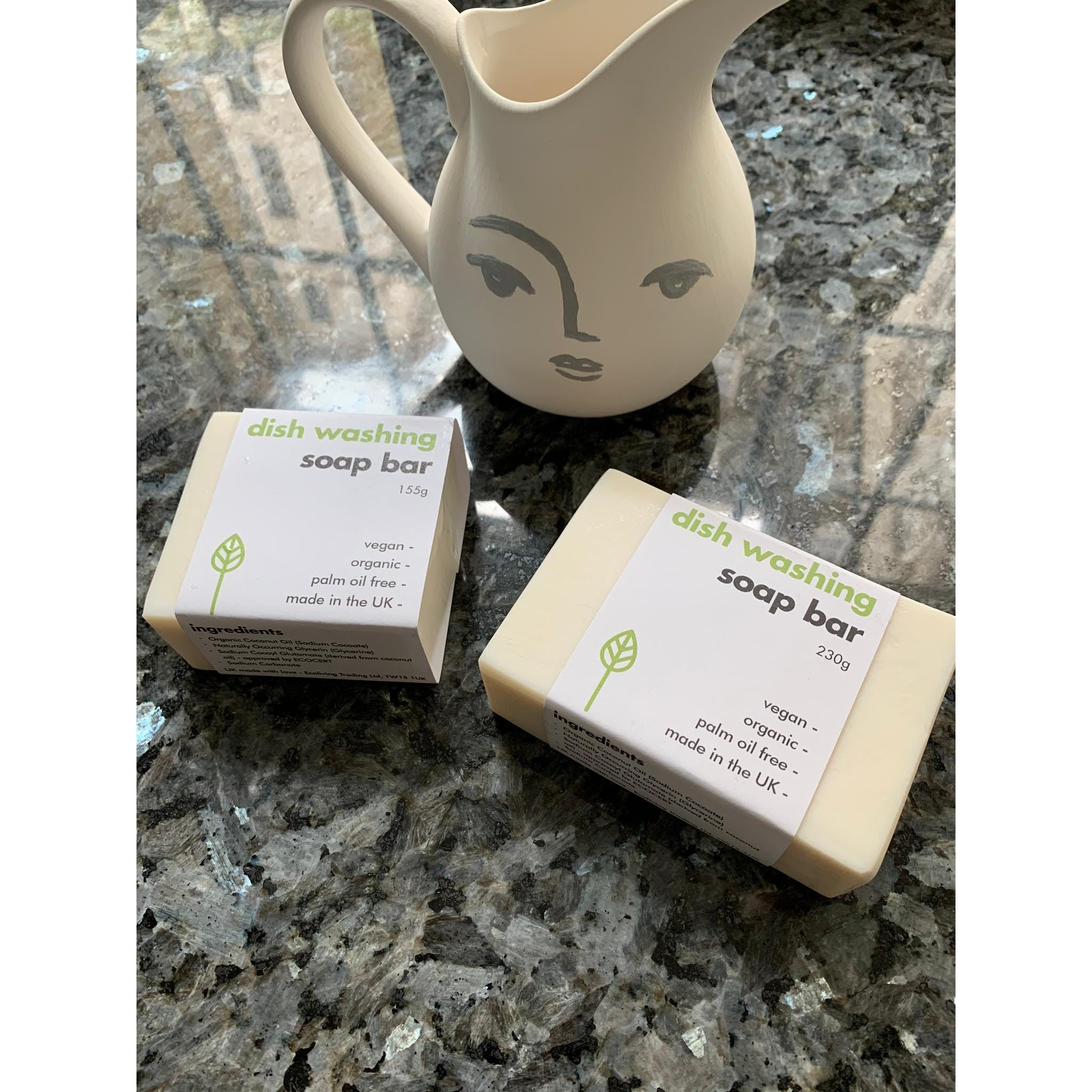 Washing-Up Soap Bar 155g, biodegradable, plastic free and contains No Palm Oil approved by ECOCERT - natoorio