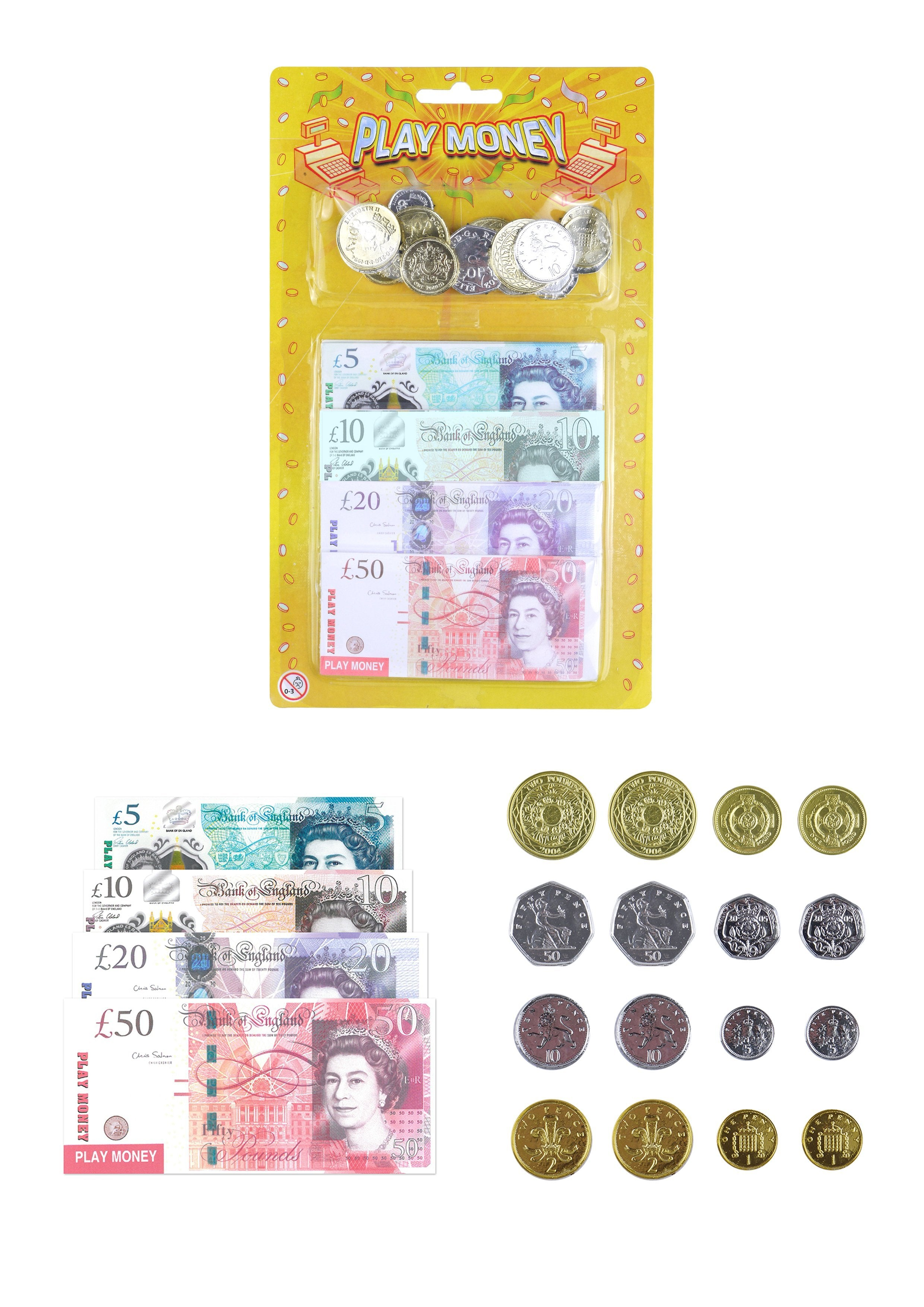 Kids Fake Play Money Notes /& Pound Coins Educational Fun Budgeting T09378