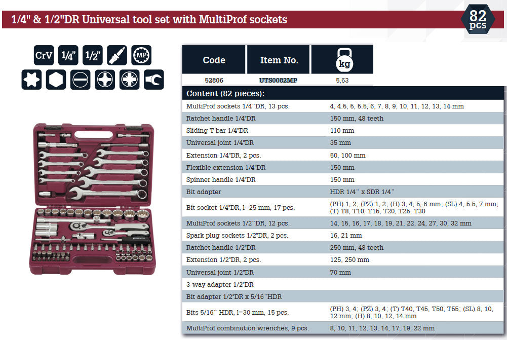 "1/4"", 1/2"" DR Universal tool set with Multiprof sockets 82 Piece Mechanics, Garage & Household Tools UTS0082MP Thorvik"