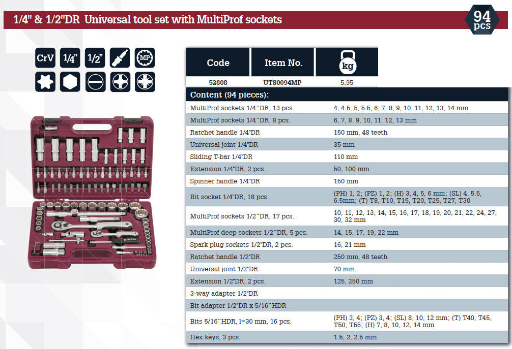 "1/4"", 1/2"" DR Universal tool set with Multiprof sockets 94 Piece Mechanics, Garage & Household Tools UTS0094MP Thorvik"