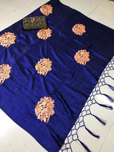 Gorgeous Navyblue Color Chakli Print Sana Silk Saree