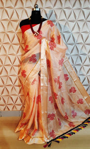Trendy Peach Color Silk Designer Saree