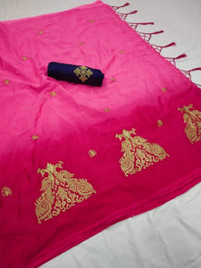 Adorable Pink Color Double Mor Print Chinon Silk Wiith Fancy Zalar Designer Saree