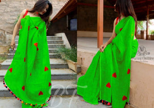 Outstanding Green Color Chanderi Cotton Heart Pattern Saree
